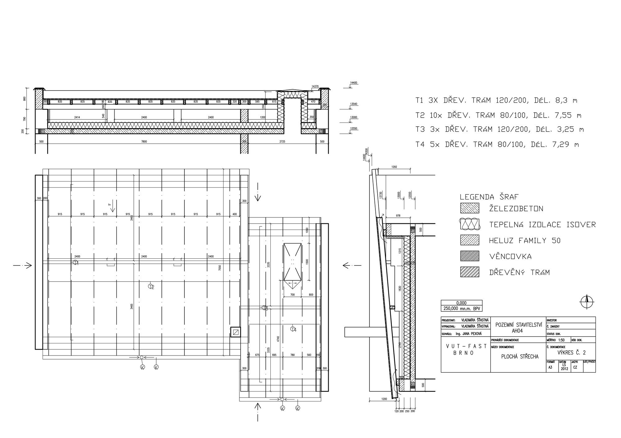 Flat Double Leaf Roof Technical Drawing Architecture